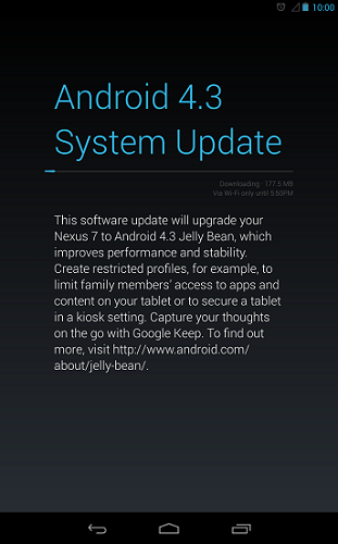 Android 4.3 Jelly Bean Update for Nexus 7