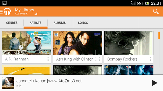 Music Player app Android 2013
