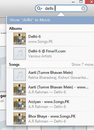 Search tool in iTunes