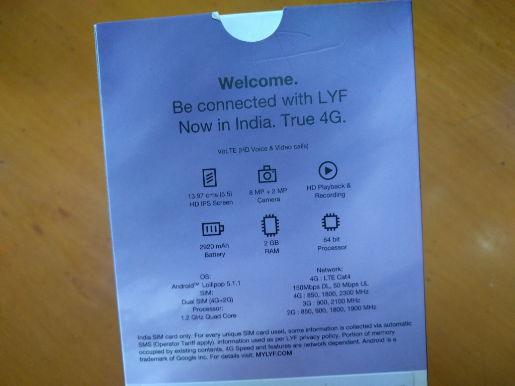 Reliance Lyf Wind 3 Smartphone Features & Specifications