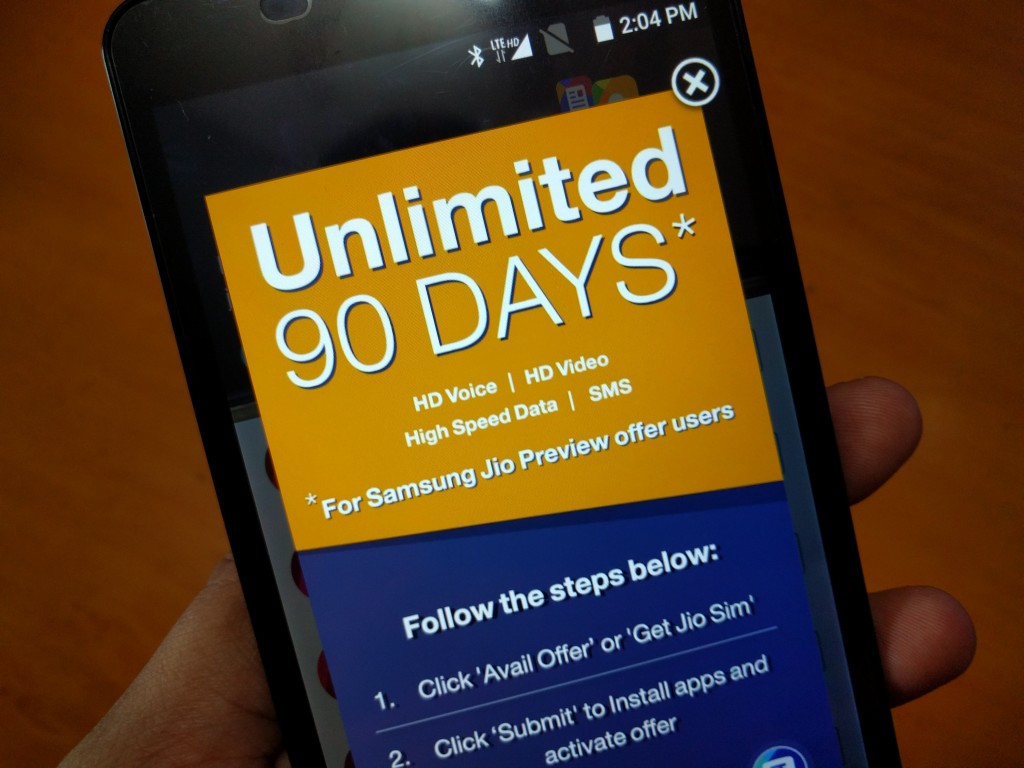 Unlimited 90 Days Jio Preview offer on Reliance Jio Sim